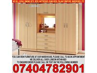 BRAND NEW Four Door Large Wardrob with Fitted Mirror Drawers in Oak Beech White Walnut color
