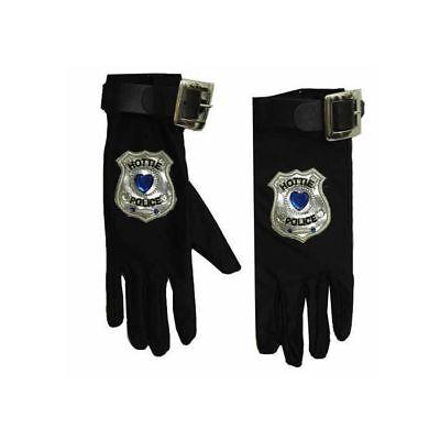 Polizei Handschuhe mit Abzeichen, Polizeikostüm Zubehör Sexy Polizistin Karneval