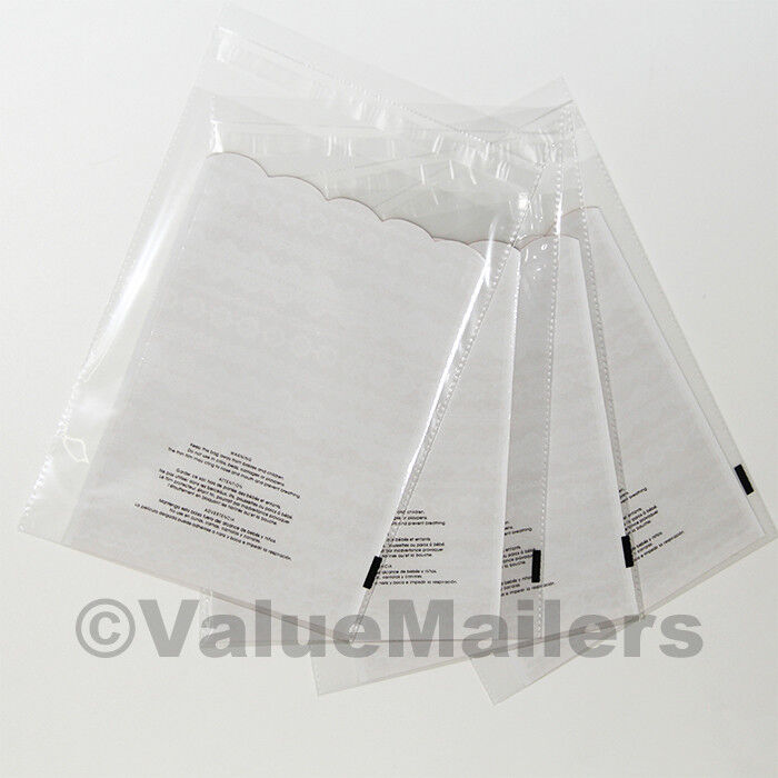 Clear Bags Resealable Suffocation Warning Poly OPP Cello Merchandise Bag 15 Mil