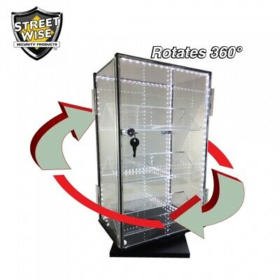 Clear Acrylic Rotating Key Lock Countertop Display With Leds Both Sides Open