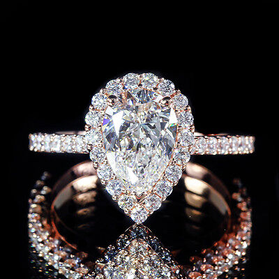 1.50ct GIA Pear Diamond Vintage Style Pave Halo Engagement Ring 18K Rose Gold