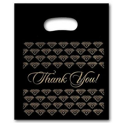 10 Small Black Gold Jewelry Thank You Plastic Merchandise Shopping Bags