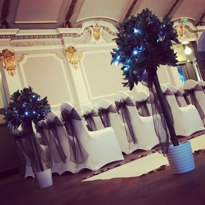 Wedding and event large led light up letters, chair covers, centrepieces, aisle decor, post box