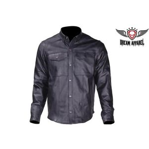 MJ777--11   Mens Leather Shirt for Summer Riding
