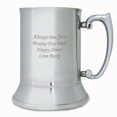 Personalised Stainless Steel Tankard: Engraved Free: Fathers Day, Birthdays, Dad - Engraved Stainless Steel Tankard
