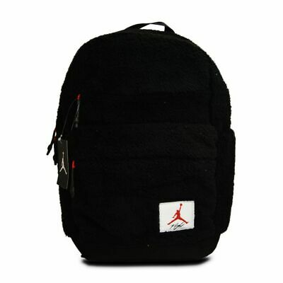 Nike Air Jordan Faux Fur Backpack Black Red 8A0148-023 Unisex NWT