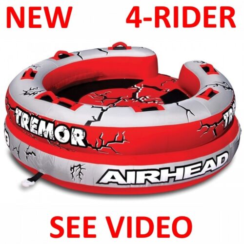 NEW AIRHEAD Tremor Inflatable Towable Tube 4 Person Rider Boat AHTM-4 SEE VIDEO