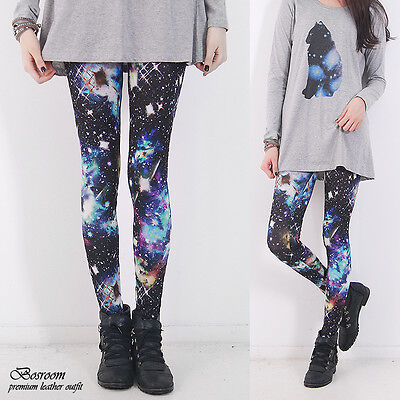 LIMITED Women spandex space lightning galaxy graphic leggings shorts S-L