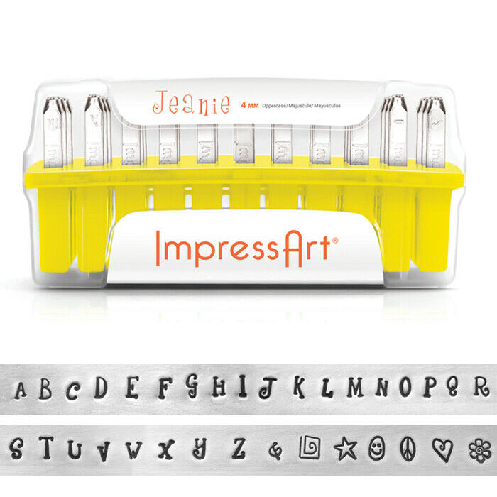 Jeanie Font ImpressArt Uppercase Letter Metal Stamp Set Kit DIY Jewelry Stamping