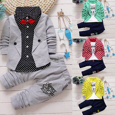 2PCS Kids Baby Boys Gentleman Shirt Tops+Long Pants Formal Party Clothes Set KW