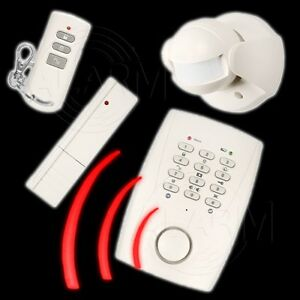 Funk Alarmanlage m. Telefonanschluß Fernbedienung Infrarot Bewegungsmelder Alarm