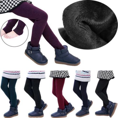 Winter Girl Child Kids Fleece Lined Thick Warm Pants Stretch Leggings Trousers