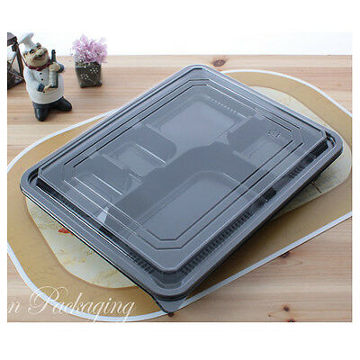 10 Pack 5 Compartment Lid Divided Plate Lunch Box Safe Food Storage Containers