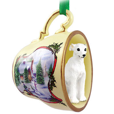 Whippet Christmas Teacup Ornament - White Whippet Ornaments
