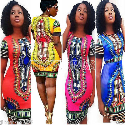 Women's Traditional African Print Dashiki Bodycon Short Sleeve Slim Mini Dress