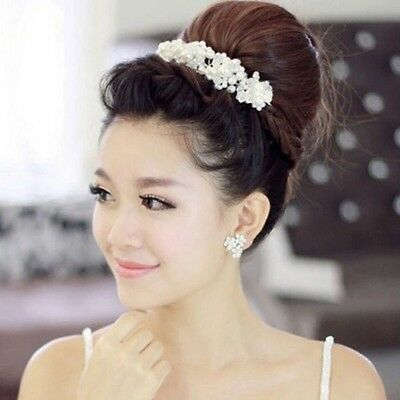 Bridal Hair Accessories Wedding Headpiece Pearl Crystal Flower Headband Tiara W4 (Pearl Tiara)