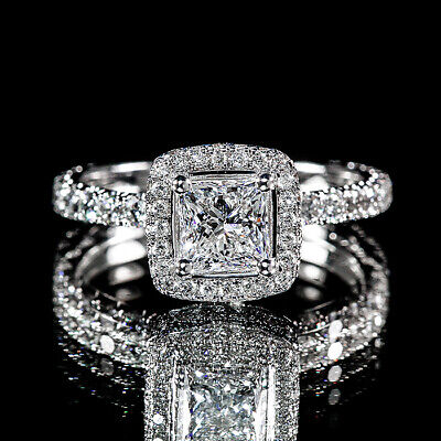 1.90ct Princess Diamond Pave Halo Flower Engagement Ring I/VS2 GIA Certified