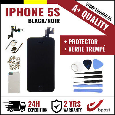 A+ LCD SCREEN SCHERM ÉCRAN ASSEMBLY BLACK NOIR +TOOL&VERRE TREMPÉ FOR IPHONE 5S