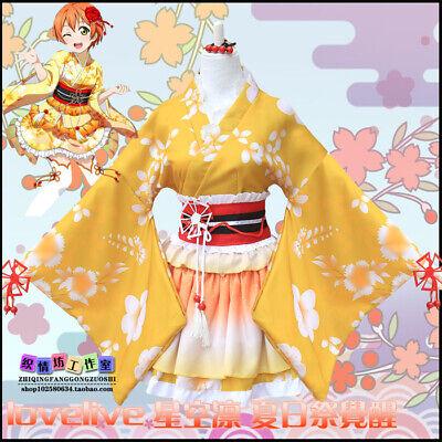 Anime Love Live! Rin Hoshizora Cosplay Japanese Kimono Dress Costume Yukata