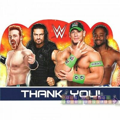Wwe Birthday Cards (WWE WRESTLING THANK YOU NOTE SET (8) ~ Birthday Party Supplies Stationery)