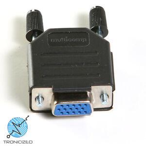 VGA 15 Pin Female D-Sub Plug Solder Connector DB15HD & Hood with ThumbScrews
