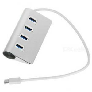 USB 3.1 Type-C to USB 3.0 4-Port Hub w/ OTG - Silver - NEW