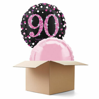 e Pink 90th, 2 Ballons Geburtstagsballon Heliumballon (Sparkle Geburtstag)