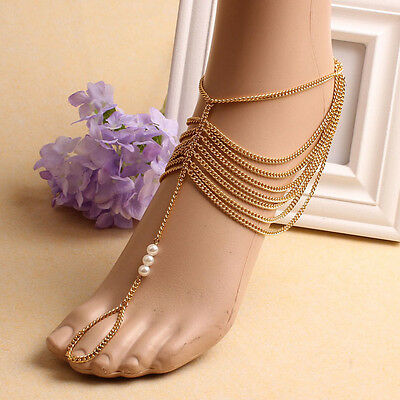 1pc Girl Tassel Gold Chain Anklet Foot Ring Barefoot Sandal Beach Jewelry Toe