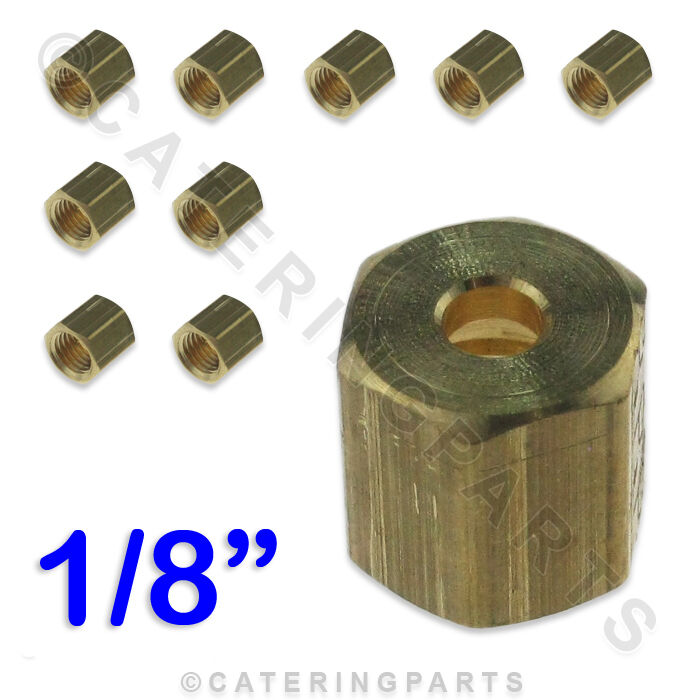 10+PACK+OF+1%2F8%22+CCT+IMPERIAL+BRASS+NUT+FOR+GAS+PILOT+TUBING+%2F+COPPER+TUBE+%2F+PIPE