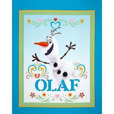Frozen Olaf Elsa Anna Snowman Snow flake Fabric Panel Cotton quilt Top Wall NEW ()