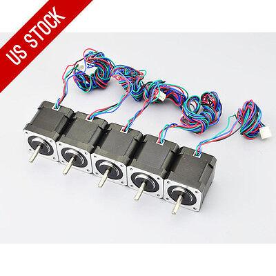5pcs Nema 17 Stepper Motor 64oz.in 1.68a 48mm 4-lead W1m Cable Cnc 3d Printer