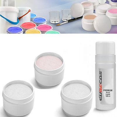Acryl Puder Acrylpulver ROSÈ + WEISS + KLAR Polymer Acryl-Set 3x 30g + Liquid
