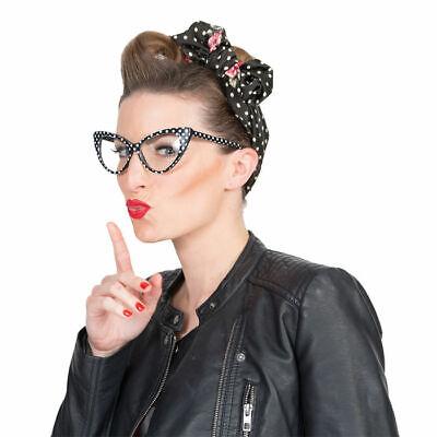 Brille Retro im 60er & 70er Stile, schwarz und weiß gepunktet, ideal für Kostüme