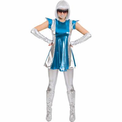 Weltraum Kostüm für Damen, glänzend silber blau, Minikleid mit (Kostüm Mit Stulpen)