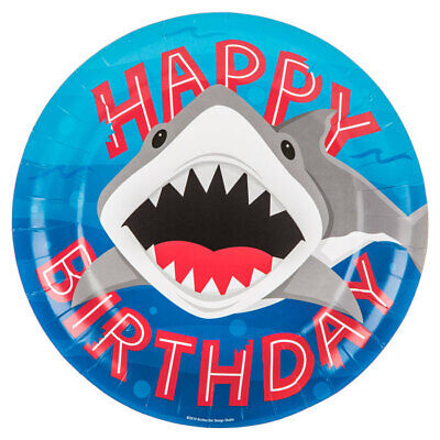 Large Shark Plates Table Decoration Party Supplies Special Events 10 Count](Shark Paper Plates)