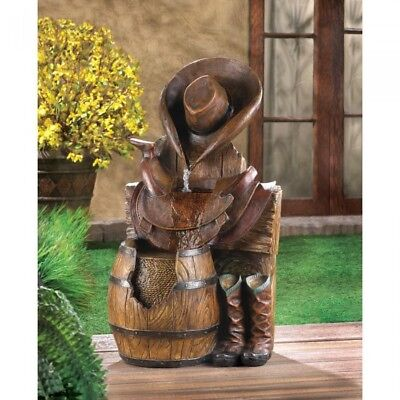 Rustic Cowboy Hat and Boots Water Fountain Outdoor Indoor Western Garden Decor (Cowboy Hat And Boots)