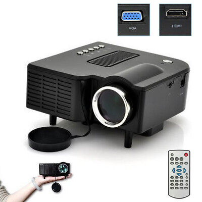 HD 1080P Multimedia LED Mini Projector Home Cinema AV VGA USB SD HDMI BK