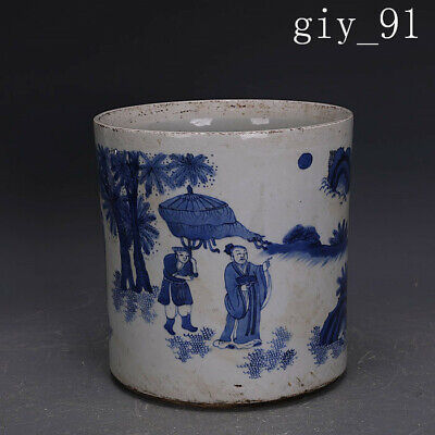 antique China Ming Dynasty Sign rare Jade blue glaze Pen wash