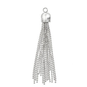 Silver 70mm Jewellery Tassel Charm With 4mm Loop Pack of 1 (H26/12)