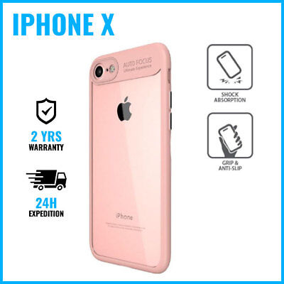 Auto Focus Armor Cover Coque Etui Silicon TPU Hoesje Case For iPhone X XS Pink