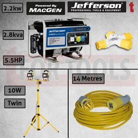 JEFFERSON PETROL GENERATOR AVR 2.2KW + LIGHT + THROW LEAD + SPLITTER