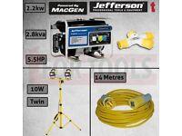JEFFERSON PETROL GENERATOR AVR 2.2KW + LIGHT + THROW LEAD + SPLITTER