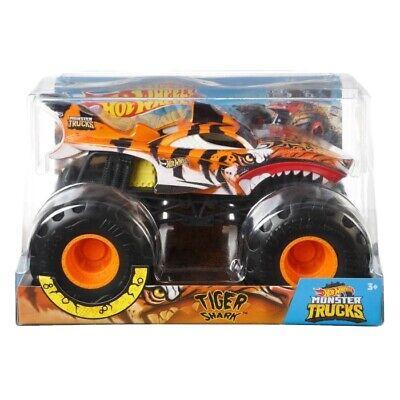 Hot Wheels 2020 1:24 Monster Truck Tiger Shark Metal Body Suspension Giant Wheel