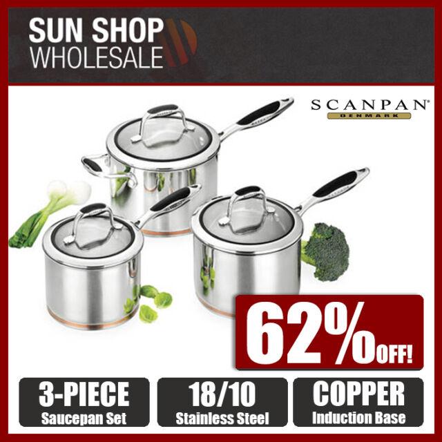 100% Genuine! SCANPAN Coppernox 3 Piece Saucepan Set 16/18/20cm! RRP $549.00!