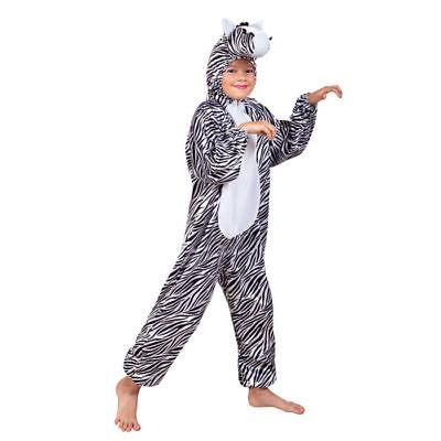 Zebrakostüm Overall für Kinder flauschige Zebraverkleidung mit Kapuze
