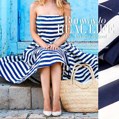 Seide Crepe De Chine Stoff Nähen Mit Blau Und Weiß Streifen Muster - Blaue Und Weiße Kleid Kostüm