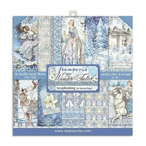 Stamperia WINTER TALES 8X8 Double Faced Scrapbook Paper 10 Sheets +BONUS #SBBS19