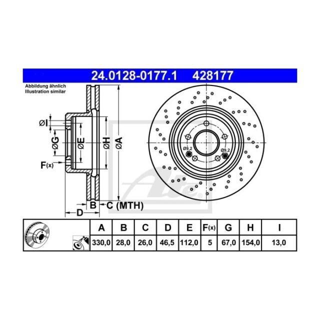 ATE 2 St. 428177 Bremsscheiben  24.0128-0177.1 MB