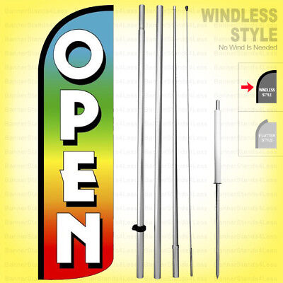 Open - Windless Swooper Flag Kit 15 Feather Banner Sign Rainbow Q-h