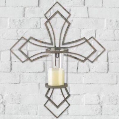 Rustic Cross Hurricane Lantern Sconce Pillar Candle Holder Wall Decor